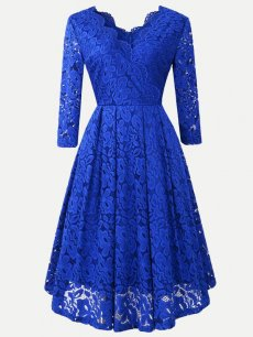 Lace Overlay Long Sleeve Swing Dress