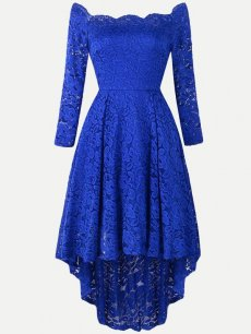 Long Sleeve High Low Lace Dress