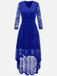 Long Sleeve High Low Lace Maxi Dress