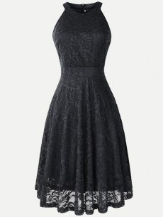 Halter Sleeveless Lace Overlay Dress