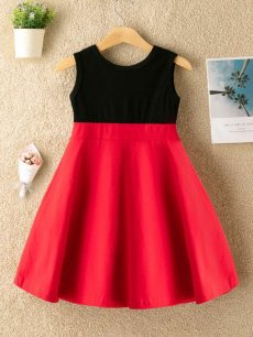 Toddler Girls Color Block Bow Front A-line Dress