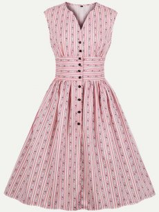60s Pink Striped Floral Print Sleeveless Dress