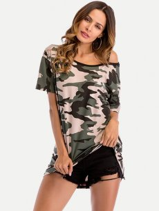 Womens T-shirts Fashion Summer Casual Skew Neck Camo Print Short Sleeve Loose Cotton Tee T Shirts Tops