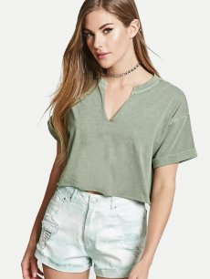 Womens T-shirts Fashion Summer Casual V Neck Short Sleeve Solid Color Cotton Short Tee T Shirts Tops