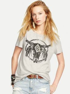 Womens T-shirts Grey Fashion Summer Casual Short Sleeve Cow Horn Print Cotton Tee T Shirts Tops
