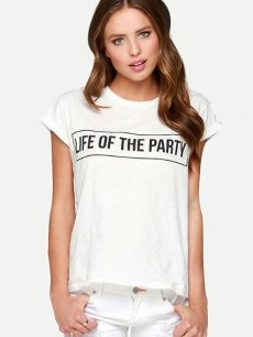 Womens T-shirts White Fashion Summer Casual Short Sleeve Letters Print Cotton Tee T Shirts Tops