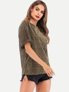 Womens T-shirts Fashion Summer Casual Short Sleeve Leopard Print Cotton Tee T Shirts Tops