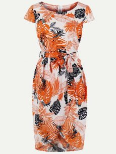 60s Floral Print Wrap Bodycon Dress