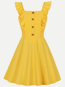 60s Yellow Ruffle Sleeveless Swing Dress