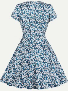 60s Blue Floral Print Swing Dress