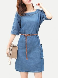 Denim Solid Belted Short Jeans Dress