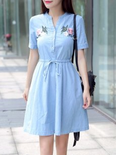 Denim Embroidery Flowers Lacing Dress