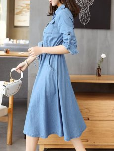 Long Denim Solid Lacing Shirt Jeans Dress