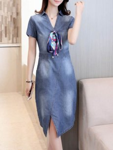 Denim Solid Lacing Long Bodycon Dress
