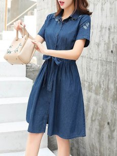Denim Lacing Embroidery Short Jeans Dress