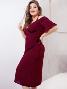 Plus Size Off Shoulder Solid Ruffles Bodycon Dress