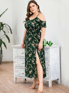 Plus Size Green Floral High Slit Slip Long Dress