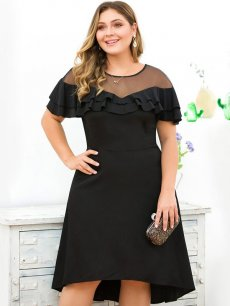 Plus Size Black Mesh Ruffle Midi Dress
