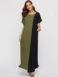 Color Block A Line Maxi Dress