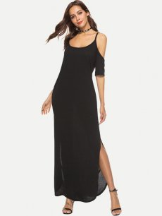 Black Off Shoulder Slip Maxi Dress