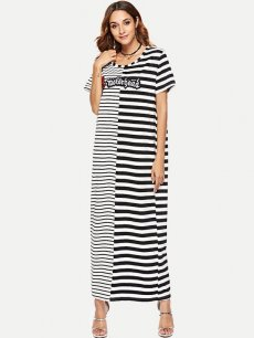 Striped Embroidered Long Maxi Dress