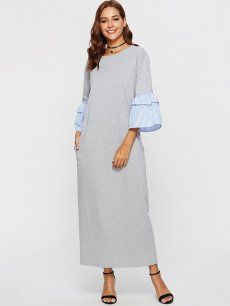 Grey Striped Flare Sleeve Maxi Dress
