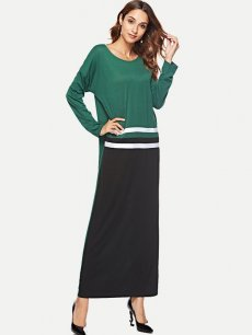 Color Block Long Sleeve Maxi Dress