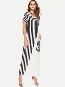White Striped Long Maxi Dress