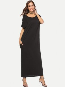 Black Solid Loose Maxi Dress