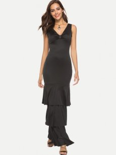 Black Ruffle Sleeveless Bodycon Maxi Dress