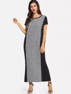 Color Block Plaid Maxi Dress