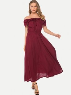 Solid Boat Neck Ruffle Maxi Dress
