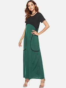 Color Block Green Maxi Dress