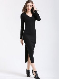 Solid Long Sleeve Bodycon Maxi Dress