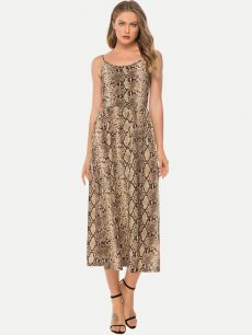 Snakeskin Sleeveless Slip Maxi Dress