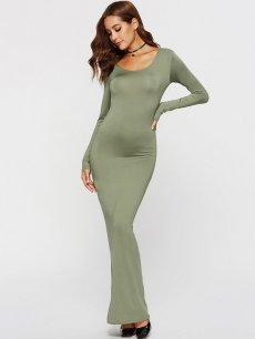 Solid Bodycon Long Maxi Dress