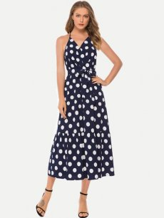 Polka Dots Chiffon Sleeveless Maxi Dress
