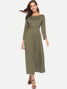 Solid Long Sleeve Maxi Dress