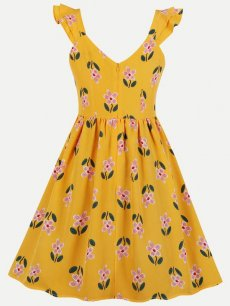 60s Floral Ruffle Sleeveless Dress