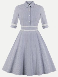 60s Blue Striped Swing Dress