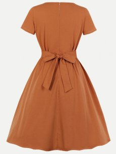 60s Orange Leaves Lacing Swing Dress