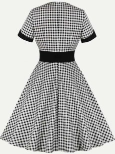 60s Black Plaid Swing Dress