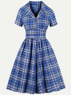60s Blue Plaid Swing Dress