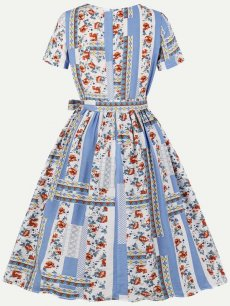 60s Floral Print Lacing Swing Dress