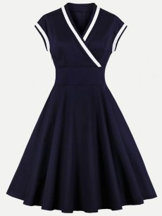 60s Navy V Neck Sleeveless Swing Dress