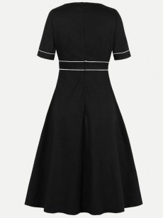 60s Black Solid Swing Dress