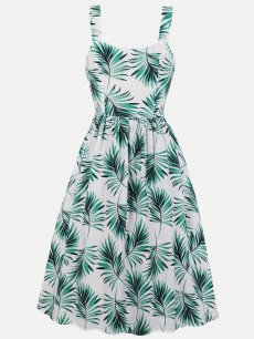 60s Retro Leaves Sleeveless Slip Dress