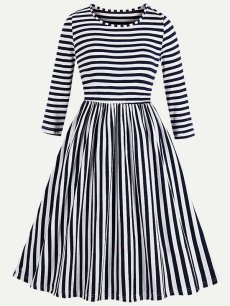 60s Navy Striped Swing Dress