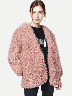 Pink Open Front Faux Fur Coat