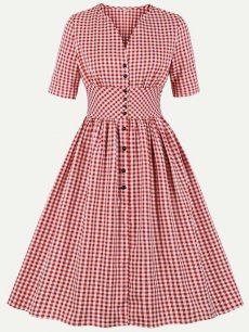 60s Red Vintage Plaid Swing Dress